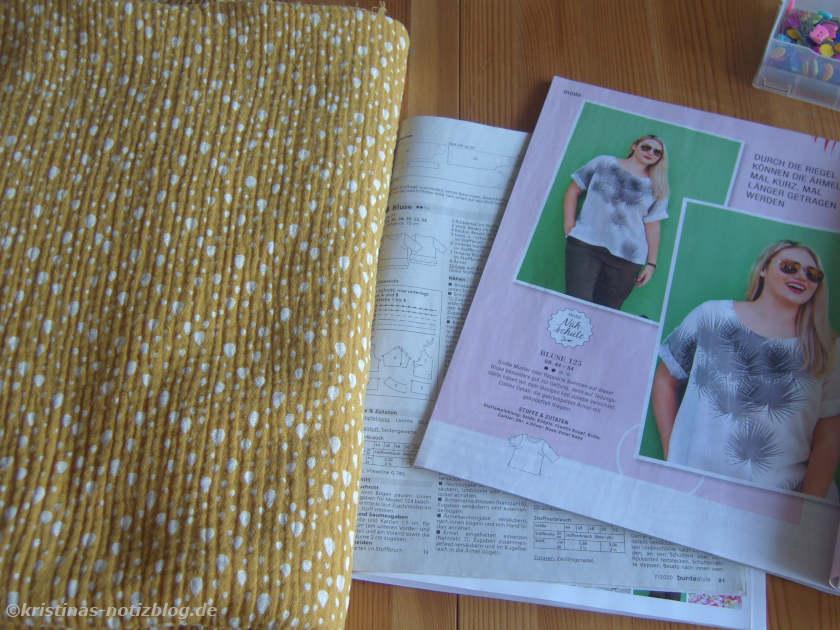 Gelber Musselinstoff für Bluse